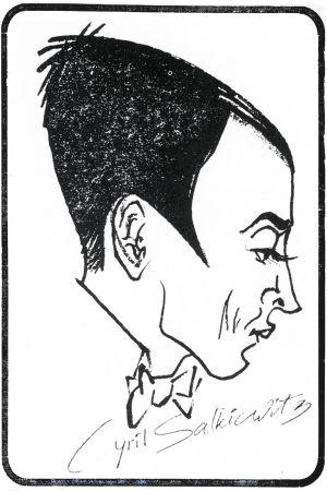 Eka Karppasen piirros pianotaiteilija Cyril Szalkiewiczista 1930-luvulla.