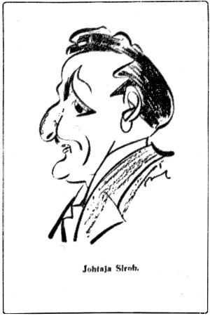 Unkarilaisen Sroblin pilakuva Boris Sirobista 1930.