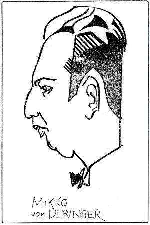 Pilapiirros kapellimestari Mikko von Deringeristä 1930-luvulla Viipurissa.