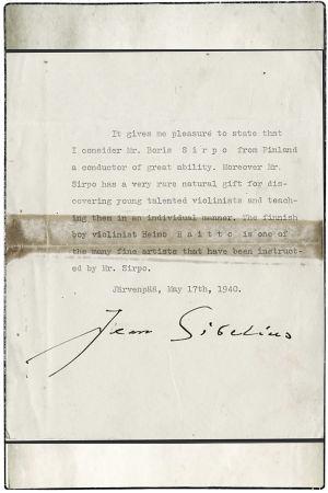 Jean Sibeliuksen suosituskirje Boris Sirpolle ja Heimo Haitolle Amerikkaan 1940.