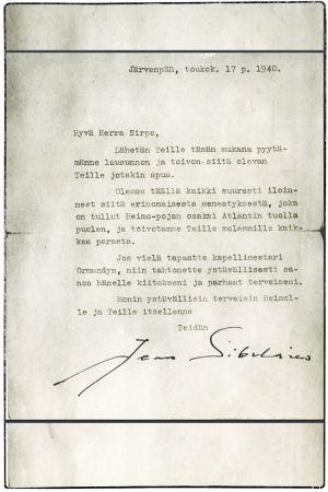 Jean Sibeliuksen kirje Boris Sirpolle Amerikkaan toukokuussa 1940.
