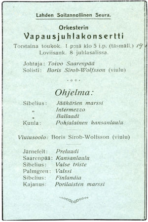Lahden Soitannollisen Seuran Vapausjuhlakonsertti 1.5.1918.
