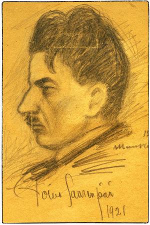Piirros säveltäjä Toivo Saarenpäästä 1921.