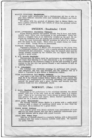 Sivu Heimo Haiton konserttiesitteestä Yhdysvalloissa syksyllä 1940.