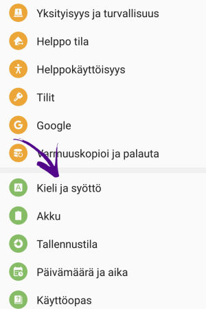 Kuva Androidin asetusnäytöstä