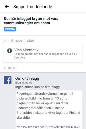 """Skärmdump av ett supportmeddelande som säger """"Det här inlägget bryter mot våra communityregler om spam""""."""