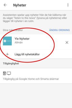 Skärmkapning från mobil som visar Google Assistants inställningsmeny för att lägga till personliga nyhetskällor