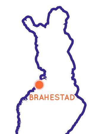 Finlands karta som visar Brahestads position.