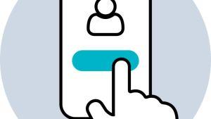 Piirroskuvassa sormi osoittaa mobiililaitteen näytöllä nappulaa, joka on käyttäjäkuvakkeen alla.
