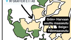 Karta som visar att bybutiken i Bromarv inte är i glesbygden.