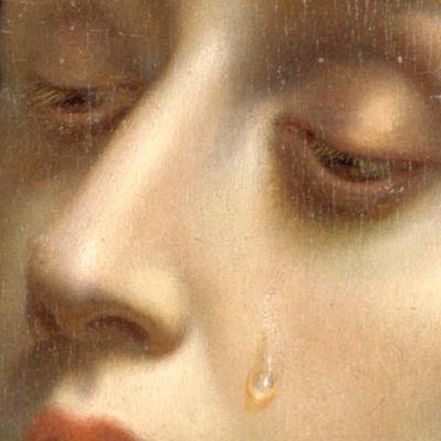 Carlo Dolcin maalaus Katariina Sienalaisesta (1665-1670), yksityiskohta