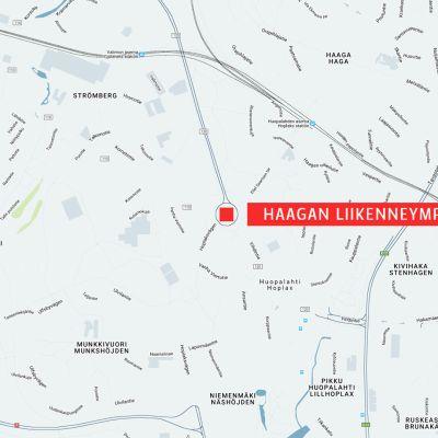 Kartta Haagan liikenneympyrästä.