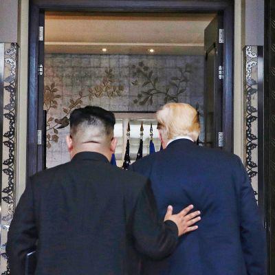 Pohjois-Korean Kim Jong-un ja Yhdysvaltain Donald Trump lähtivät allekirjoitustilaisuudesta.