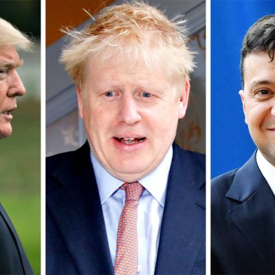 Donald Trump, Boris Johson ja Volodymyr Zelenskyi.