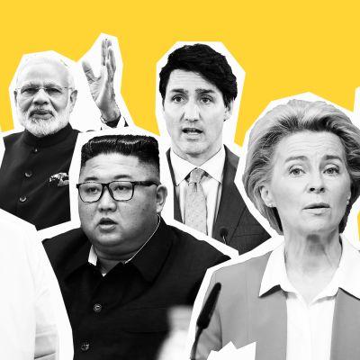 Kuvakoosteessa mukana Angela Merkel, Narendra Modi, Kim Jong-un, Justin Trudeau, Ursula von der Leyen ja Donald Trump