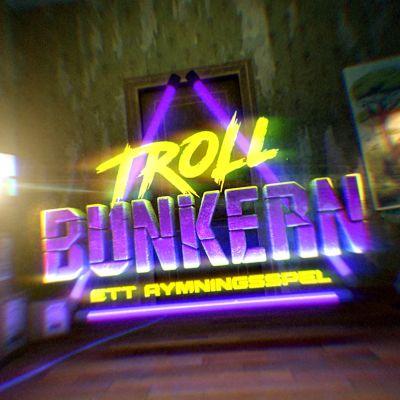 Grafikbild med texten Trollbunkern, ett rymningsspel tvärs över bilden.