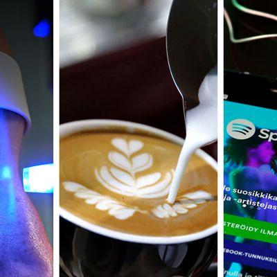 Kolmen kuvan yhdistelmäkuva. Nuori nainen silmälääkärillä (vasemmalla), erikoiskahviin tehdään koristelukuviota (keskellä) ja Spotifyn käyttöliittymä alykännykässä.