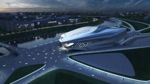 Planen för Guggenheim i Vilnius liknar en strömlinjeformad rymdfarkost.