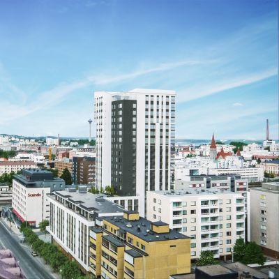 Rakennusyhtiö Skanskan havainnekuva Tampereen keskustaan tulevasta uudesta tornitalosta
