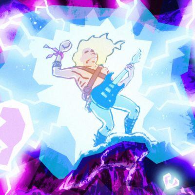 Sähkökitaristi soittaa kalliolla salamoiden iskiessä taivaalla.