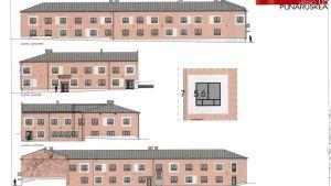Lönnbergska fastigheten ska vara rödbrun efter fasadrenoveringen. De ljusgrå effektnischerna kring fönstren ska inte finnas med.