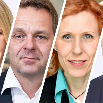 Kuvassa ehdokkaiden kasvot