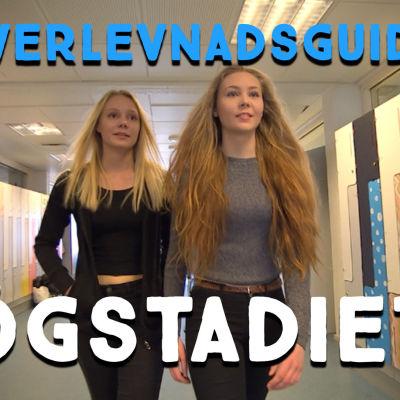 Startbild till överlevnadsguide 1 för högstadiet. Två flickor i korridoren. Rubrik.