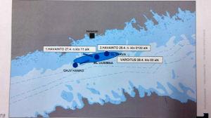 Karta över Finska viken med de misstänkta observationerna inprickade.