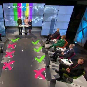 Bild av alla deltagare i Yles tvåspråkiga valdebatt inför riksdagsvalet 2019.