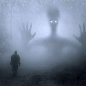 En man och ett monster i en mörk skog.