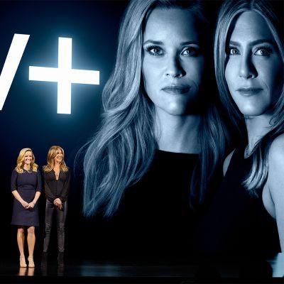 Reese Witherspoon ja Jennifer Aniston Applen televisiopalvelun lanseeraustilaisuudessa.