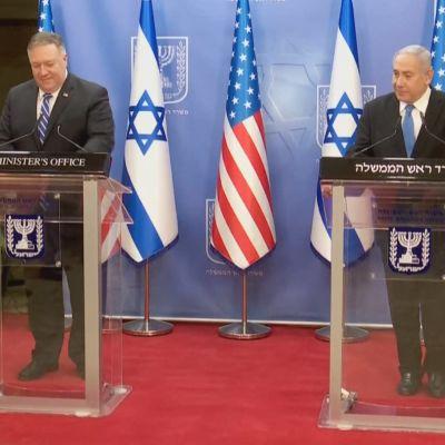 Yhdysvaltain ulkoministeri Mike Pompeo neuvotteli Israelin pääministerin Benjamin Netanjahun kanssa Jerusalemissa.
