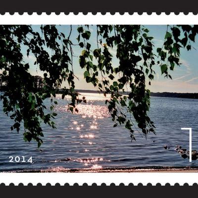 Årets nästvackraste frimärke Rantamaisema. Foto: Janne Gröning Formgivning: Tero Jämsä