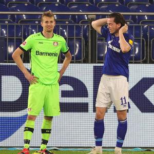 Schalkes Michael Gregoritsch (till höger) sumpade ett jätteläge på slutet. Bayer Leverkusens Lukas Hradecky stod i vägen.