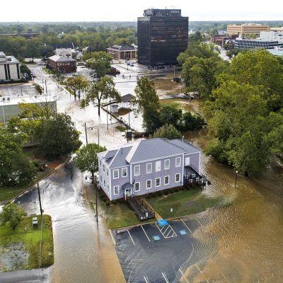 Tulvaa ilmakuvassa.