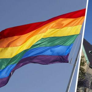 Bildkollage på nationalmuseet och prideflagga.