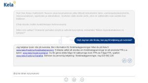 FPA:s chatbot som betjänar endast på finska.