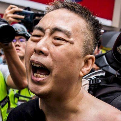 Demonstration på Kinas nationaldag i Hongkong.