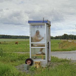 Tero Sievi-Korte puhelinkoppisaunassa elokuvassa Miesten vuoro