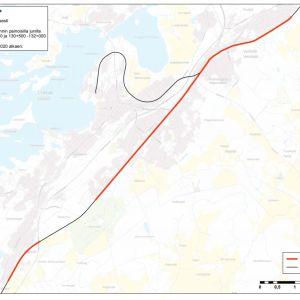 En röd linje med avbrott på en karta.