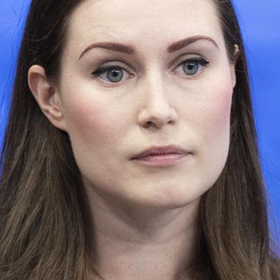 Statsminister Sanna Marin gästar tv-programmet Ykkösaamu den 29 augusti 2020.