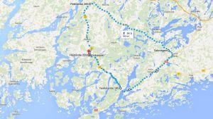 En karta över vargområdet Kisko å, Kiskovägen, Salo-Ekenäsvägen och Pojoviken.