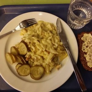 4-luokkalaisen pojan lounasannos: broilerikiusausta ja suolakurkkua, vesilasi ja leipää