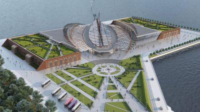 En teckning av en framtida spektakulär byggnad ute i vattnet.