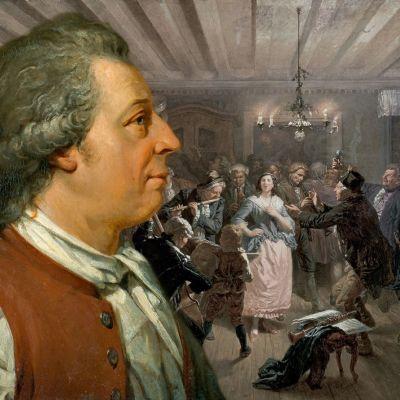 Carl Michael Bellman i ett rum med festande människor på Hans Thorwids oljemålning.