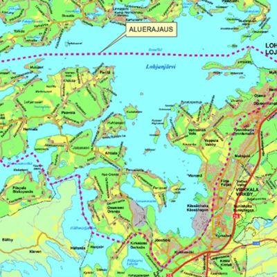 En karta över områden i Lojo där en del har ringats runt av en streckad röd linje.