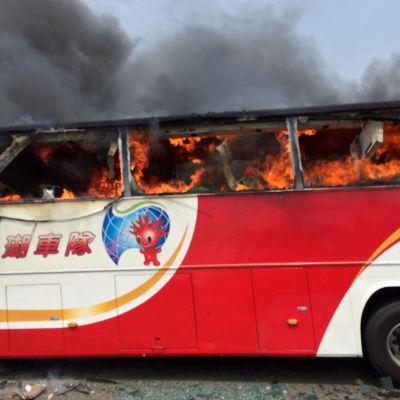 Minst 26 människor har omkommit i en bussbrand i Taiwan.