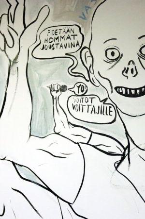 Yksityiskohta Lauri Mäkimurron seinämaalauksesta