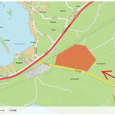 En karta över det område i Koverhar som Hanko Data Parks anser passar sig för datacentral.