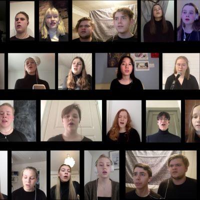 Flera elever som filmat sig själva på sin dator och sammanställt det hela till en video då de sjunger tillsammans.
